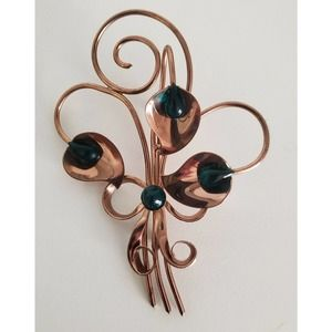 Cala Lily Brooch Copper Green Beads Statement